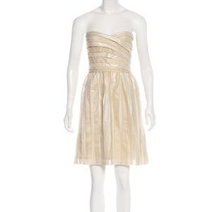 DVF Champagne Shimmer Strapless Cocktail Dress 6